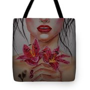 Sleeping With Flowers Tote Bag