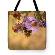 Sleepy Bee On New England Aster Vertical Tote Bag