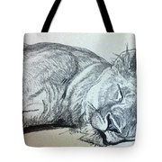 Slepping Lion Tote Bag