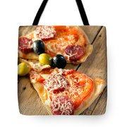Slices Of Homemade Pizza With Salami Tote Bag