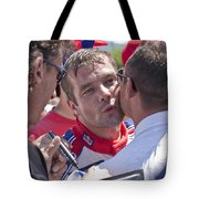 S.loeb 2 Minutes After Winning Wrc Rally Bulgaria 2010 Tote Bag