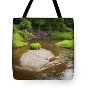 Slow River In Deep Forest Landscape Tote Bag