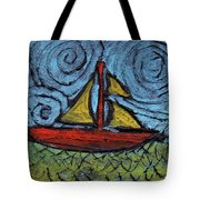 Small Boat With Yellow Sail Tote Bag