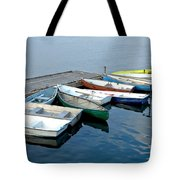 Small Boats Docked To A Pier Tote Bag
