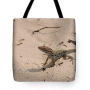 Small Brown Lizard Sitting On A White Sand Beach Tote Bag