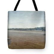 Small City Airport Plane Taking Off Runway Tote Bag