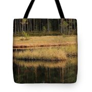 Small Forest Lake In Autumn Tote Bag