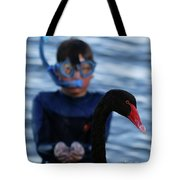 Small Human Meets Black Swan Tote Bag