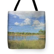 Small Pond With Weathered Wood Tote Bag