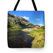 Small Red Cabin In Norway Tote Bag