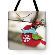 Small Red Handicraft Bird Hanging On A Wire Tote Bag