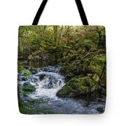 Small River Cascade Over Mossy Rocks In Northern Wales Tote Bag