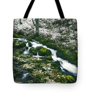 Small River In Forest In Winter Tote Bag
