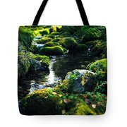 Small Stream In Green Forest Lapland Tote Bag