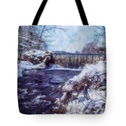 Small Stream, Snowy Scene And Waterfalls. Tote Bag