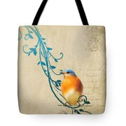 Small Vintage Bluebird With Leaves Tote Bag
