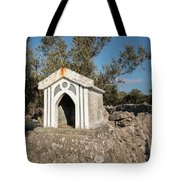 Small White Chapel On A Stone Wall Near Cres Tote Bag