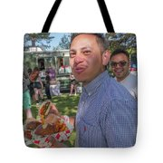 Smiling And Eating Tote Bag