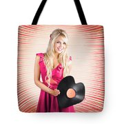 Smiling Dj Woman In Love With Retro Music Tote Bag