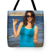 Smiling Hottie At The Beach Tote Bag