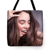 Smiling Young Woman With Long Brown Hair Tote Bag