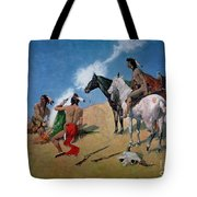 Smoke Signals Tote Bag by Frederic Remington