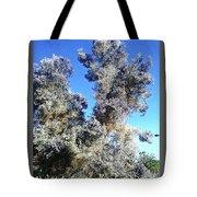 Smoke Tree In Bloom With Blue Purple Flowers Tote Bag