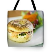 Smoked Salmon And Cream Cheese Bagel Tote Bag