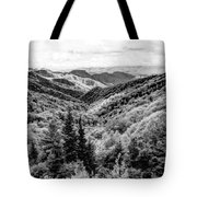 Smoky Mountains In Black And White Tote Bag