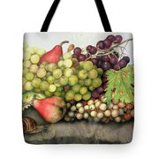 Snail With Grapes And Pears Tote Bag