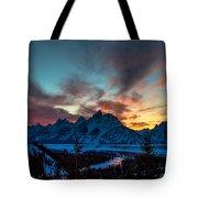 Snake River And Tetons At Sunset Tote Bag