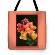 Snapdragon Flowers With Design Tote Bag