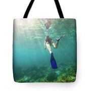 Snorkeling In Coral Reef Tote Bag