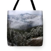 Snow And Clouds In The Mountains Tote Bag