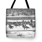 Snow And Geese On The River II Tote Bag