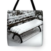 Snow Bench Tote Bag