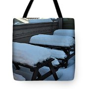 Snow Benches Tote Bag