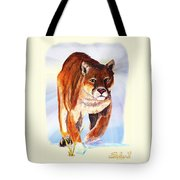 Snow Cougar Tote Bag