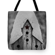 Snow Covered Birdhouse Tote Bag