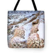 Snow Covered Cactus Below Mount Whitney Eastern Sierras Tote Bag