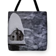 Snow Covered Elf Birdhouse Tote Bag