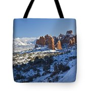 Snow-covered Fins And La Sal Mountains Tote Bag