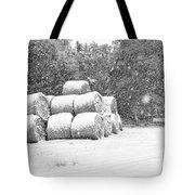Snow Covered Hay Bales Tote Bag