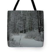 Snow Covered Path Into The Woods Tote Bag