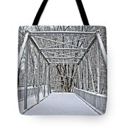 Snow Covered Pony Bridge Tote Bag