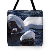 Snow Covered River Rocks Tote Bag