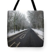 Snow Covered Road Tote Bag