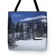 Snow Covered Trees And Cabin At Rock Tote Bag