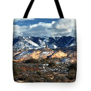 Snow Covered Utah Mountain Range Tote Bag