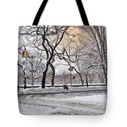 Snow Day On 5th Avenue Tote Bag